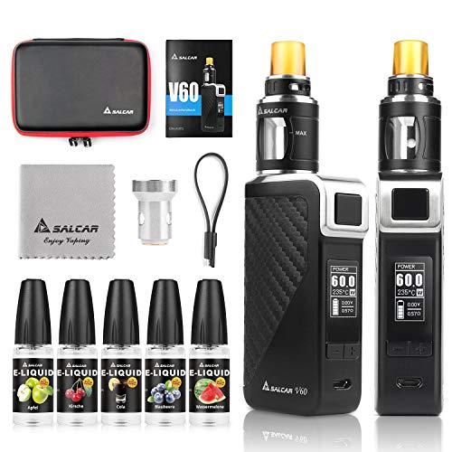 Salcar V60 E Zigarette/ E Shisha Starterset und 5x10ml E liquid || V60 Mod Kit mit 2200mah Akku + 2.0ml Top Refill Verdampfer + 0.5 Ohm Verdampferköpfe, 0,0mg Nikotin (Schwarz)