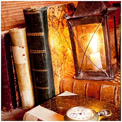 Antike Kerze Laterne (Wallario Möbeldesign/Aufkleber, geeignet für IKEA Lack Tisch - Antike Laterne mit Kerze Alten Büchern und Taschenuhr in 55 x 55 cm)