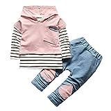 XXYsm Baby Kapuzenpullover Outfits Hoodie Mädchen Jungen Sweatshirt Mit Kapuze + Hosen Unisex Set Streifen Print Blusen Rosa 18-24 Monate