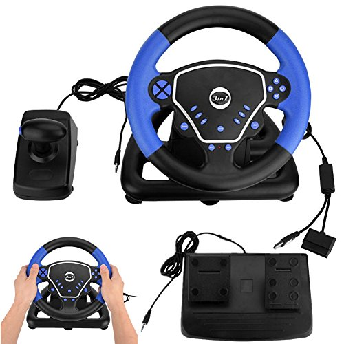Yosoo-- 3 in 1 Spiel Lenkrad, 180 Grad Universal USB Computer Vibration Racing Spiel Rad Plus Pedal Racing Game Simulator für Xbox PS2 PS3 PC und Android Mobile Playstation Zubehör (Ps3-motion-racing-spiel)