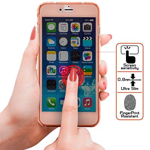 Zanasta Designs iPhone 7 Plus Coque Silicone Clair Case Ultra Mince Premium Soft Flexible TPU Cover Housse Etui Protection Recto-Verso, Transparent Rose