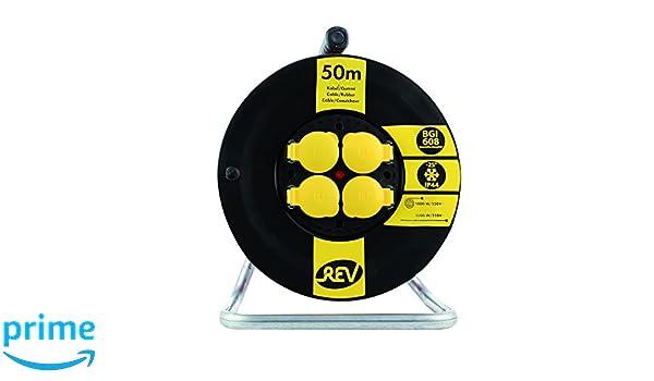 IP 44 schwarz-gelb REV Ritter 0010368512 Kunststoff Kabeltrommel BGI608 H07RN-F 50 m