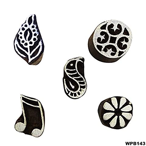 Elegant Designs Wooden Block Floral Lot Of 5 Pcs Brown Wallpaper Indian Textile Printing Stamps Exclusive Pattern Hand Carved DIY ScrapbookProjects For Clay Tattoo Decorative