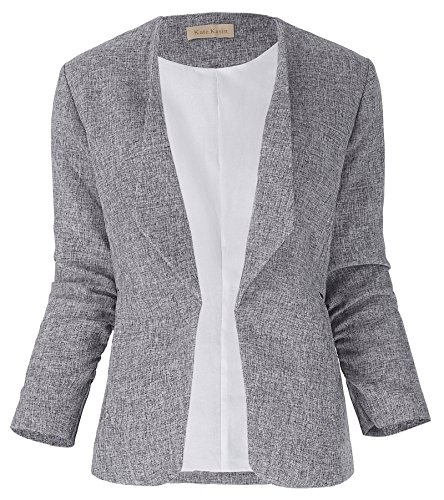 Fashion Langarm Blazer Mantel Grau Frühwinterjacke Trenchcoat Größe L KK000470-1