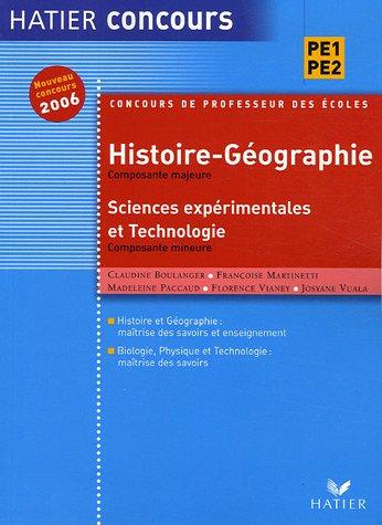 Histoire et Géographie, Composante majeure : Sciences expérimentales et technologie, Composante mineure