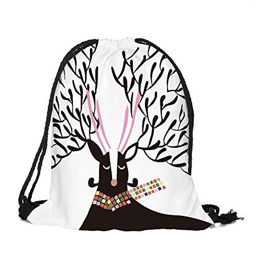 sche Weihnachtsthema Hängende Tasche Beutel Hanf Gebündelt Kordelzug Tee Geschenk Taschen Lagerung Tasche Kosmetiktaschen Aufbewahrung Organizer (Elch 7) ()