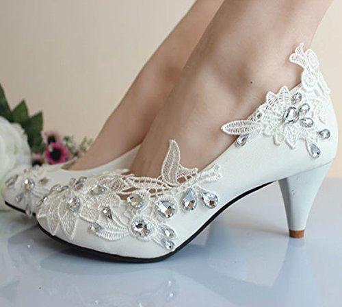 JINGXINSTORE Princess party di nozze Bridalhoes romantico floreale in pizzo donne sexy tacchi alti White