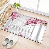 LB Badezimmer Teppiche Rutschfeste saugfähige Badematten weichen Duschvorleger (60 * 40 cm) Weißer Korridor,rosa Blumen
