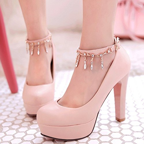 TAOFFEN Damen Elegant Plateau High Heel Pumps Buckle Strap Party Schuhe Pink 9d6d08d2f9