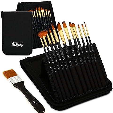 Set de 12 pinceaux Artify | Étui de transport permettant de présenter les pinceaux en pop-up, avec un couteau à palette, un grand pinceau plat et une éponge offerts | Parfait pour l'acrylique, l'huile, l'aquarelle et la gouache