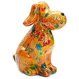 Spardose Hund Tobi. Pomme Pidou Keramik Spardosen mit lustigen Tiermotiven (Schmetterling gelb)