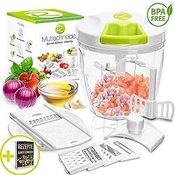 Rigutto I Zwiebelschneider Manuell - Premium Set I für Gemüse, Obst & Dips I Spülmaschinengeeignet I Zerkleinerer Zwiebelhacker I 900 ml - inkl Ebook
