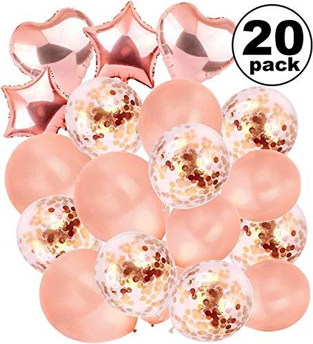 Große Rosengold-Luftballons-Dekorationen -18-Zoll-Konfetti-Latexpackung 20 Gefüllte Metallic-Liebe | Braut-Baby-Dusche, Geburtstag, Hochzeit, Engagement, Abschlussball, Schulbedarf, Bachelorette