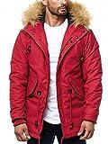One Public MEGASTYL Herren Männer Winterjacke mit Abnehmbaren Kunstfell und Schnürdetails Rot Braun Khaki, Farbe:Rot, Größe:XL