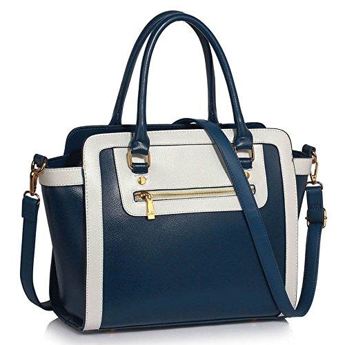 LeahWard® Damen Zwei Teins Shaped nett Groß Handtaschen Tragetaschen (Marine/Weiß Texture) (Weiß Chloe Handtasche)
