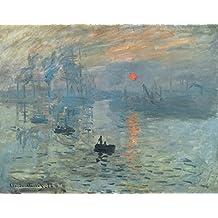Wieco Art–Coucher de soleil par Claude Monet, reproduction de célèbres peintures à l'huile, moderne, encadrée, peintures giclée sur papier, toile, paysage marin, illustrations de la mer, photos sur toile, décoration murale pour le salon, décorations intérieure MON0280–3040