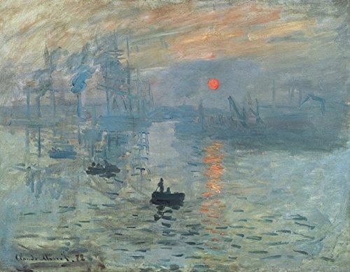 Wieco ArtSonnenuntergang von Claude Monet, Öl-Gemälde, Reproduktion, modern, gerahmt, Giclée-Leinwanddruck, canvas, 16x12inch (12 X 12 Canvas)