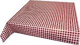 Wachstuch Tischdecke rot weiß kariert 140cm X 160cm, abwaschbar