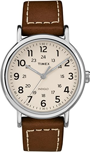 Timex Unisex Erwachsene Analog Quarz Uhr mit Leder Armband TW2R42400JT
