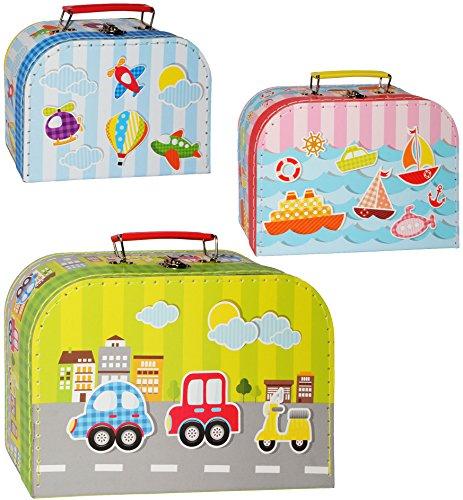 Preisvergleich Produktbild Unbekannt 1 Stück _ Koffer / Kinderkoffer - KLEIN - Fahrzeuge - Flugzeug / Schiff / Auto - 20 cm - ideal für Spielzeug und als Geldgeschenk - Mädchen & Jungen - Pap..