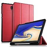 ELTD Hülle für Samsung Galaxy Tab S4 T830/T835, Ultra Leightweight Flip mit Ständer und Eingebautem Magnet PU Leder Hülle für Samsung Galaxy Tab S4 T830/T835 10.5 Zoll 2018 [Rot]