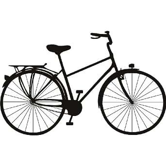 Vieux velo pedale transport art mural autocollant 02 - 50cm Hauteur - 50cm Largeur - noir vinyle