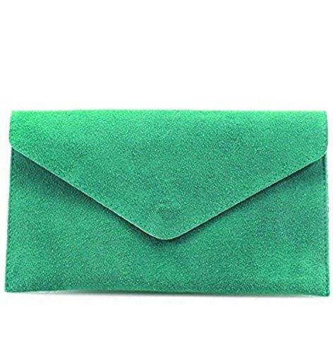 LeahWard® Genuine Italian Suede Leder Envelope Handtaschen Party Hochzeit Geldbörse Handtasche Umhängetasche CW01 Turquoise