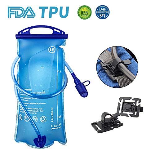 OFUN Bolsas de Agua para Mochilas, 2 Litro Vejiga de Hidratación con Clips de Hidratación, Material de TPU, Aprobado por la FDA Sin BPA Certificado LFGB