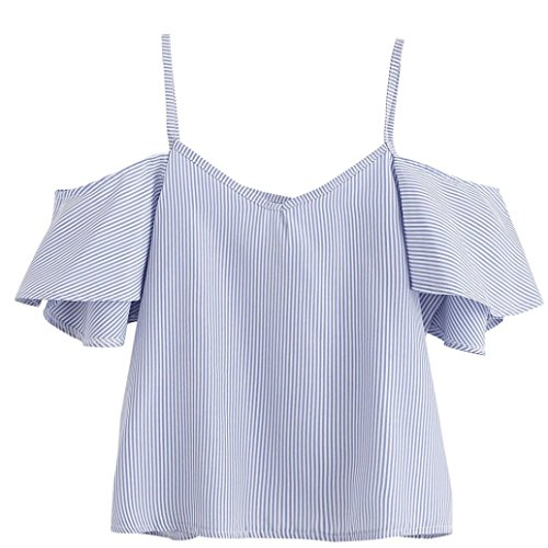 Damen Schlinge Tops YunYoud Frau Sommer Bluse Nadelstreifen Hemd Kurzarm T-Shirt Mode Kalte Schulter Oberteile Reizvoller Pullover Beiläufig V-Ausschnitt Kleider (M, Blau) (Damen Nadelstreifen-hemd)