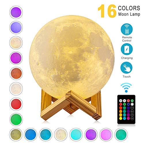 WYCY Lampara Luna 8CM 16 Colores Interruptor