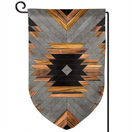 Lilyo-ltd Urban Tribal Muster aztekischer Beton und Holz, Gartenhof Flagge, 31,8 x 45,7 cm, doppelseitig, Polyester