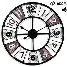 b2e9167eae55 Searchyou - 60CM Relojes de Pared de Hierro Silencioso Estilo Vintage  Diseño Hueco para Salón Dormitorio
