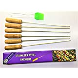 MILESTOUCH - Skewer 6 and Oil Silicon Brush-1 - Wood handle Steel Skewers 14.50 INCH