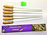 MILESTOUCH - Skewer 6 and Oil Silicon Brush-1 - Wood handle Steel Skewers