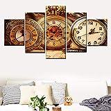 Rkmaster-5 Piezas Reloj De Bolsillo Antiguo Lienzo Póster Imagen Modular Moderna Sala De Estar...