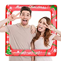 Amosfun Inflatable Selfie Frame Christmas Frame Photo Prop for Bridal Shower Baby Shower Christmas Party (71cmx71cm)