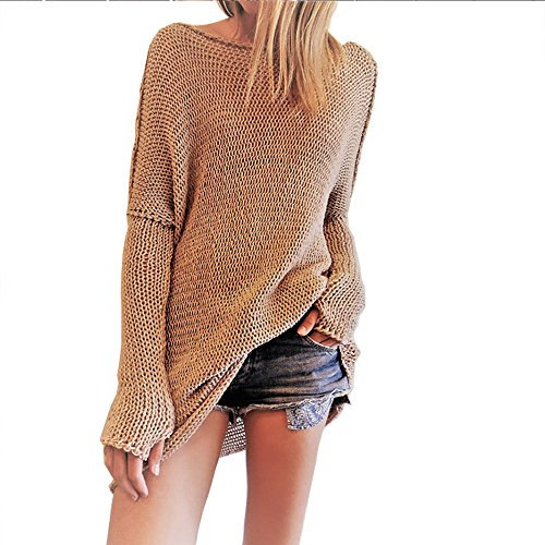 EAAMU®Damen Frauen Lässige Rollkragen Strickpullover Lose Pullover Kleid Sweatshirt Tunika Top Mäntel Minikleid Sweater (S, Kamel)