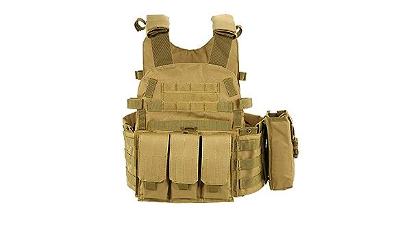 HUAJIANGHU Veste Tactique De Camouflage du Corps Armure De Combat Gilet avec /Étui//Pad Assault Militaire Airsoft Plate Transporteur V/êtements Gilets