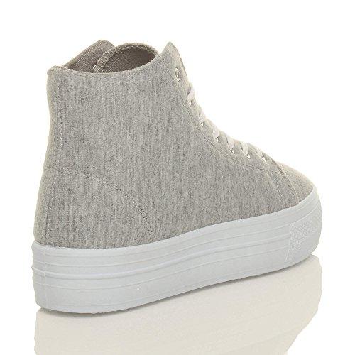 Damen Flatform Flache Plateau Schnüren Knöchel High-Top Turnschuhe Sneaker Größe Hellgrau