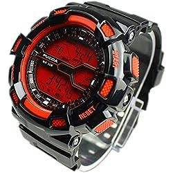 FACILLA® Men Electronic Digital Wrist Watch Silicone Band Calendar Alarm Red Dial Sports