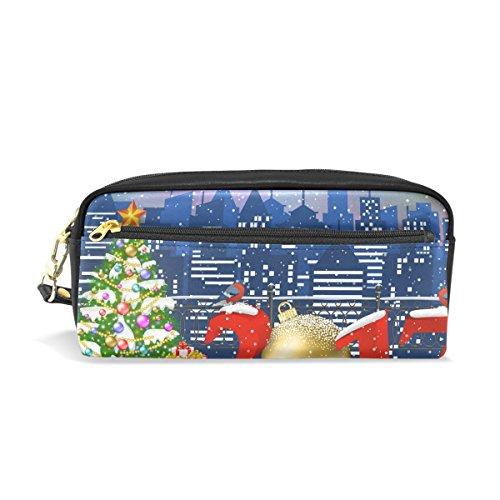 ahomy Weihnachtsbaum Schnee Sanat Rentier City Bleistift Pen Fällen Doppelreißverschluss Große Make-up Kosmetik Stationery Tasche für Tasche für Mädchen jungen Frauen