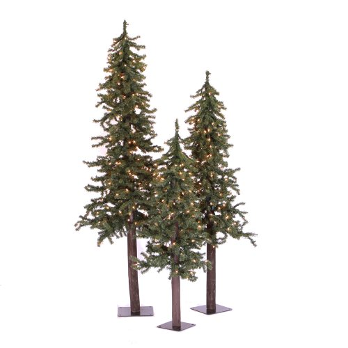 Vickerman Natural Alpine Tree mit 105T 3-Teiliges Set 2' 3' 4' Clear Lights -