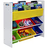 Songmics Estantería infantil para juguetes libros Librería de 3 niveles con 6 cajones GKR03W