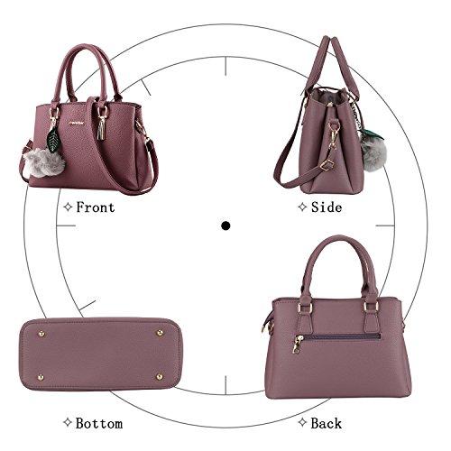 Bequemer Laden Borse Moda per Donna Borse in Pelle PU Borsa a Mano Donna con Grande Capacità-Viola