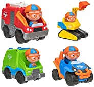 Blippi Toy Vehicle 4 Pack - Fire Truck, Excavator, Blippi Mobile, and Garbage Truck!