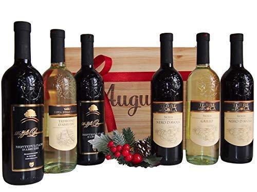 Regalo selezione vini regioni provenienza abruzzo e sicilia - vini in cassette legno regalo per occasioni importanti - cod 190