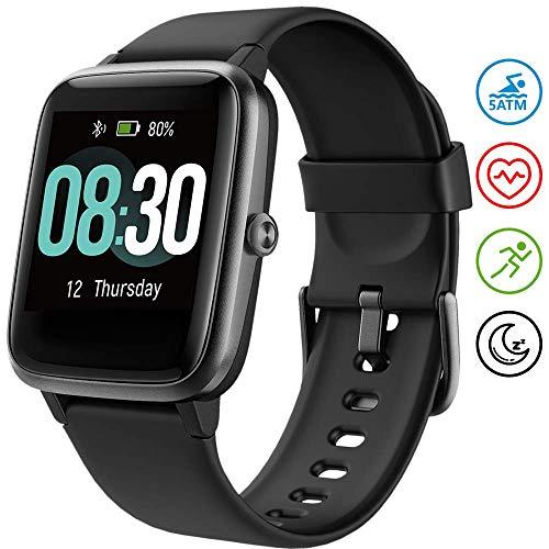 UMIDIGI Smartwatch Fitness Tracker Uwatch3, Armbanduhr Sportuhr Smart Watch für Damen Herren Kinder mit Herzfrequenz Schlaftracker 5 ATM Wasserdicht Kompatibel mit Android und IOS, Schwarz