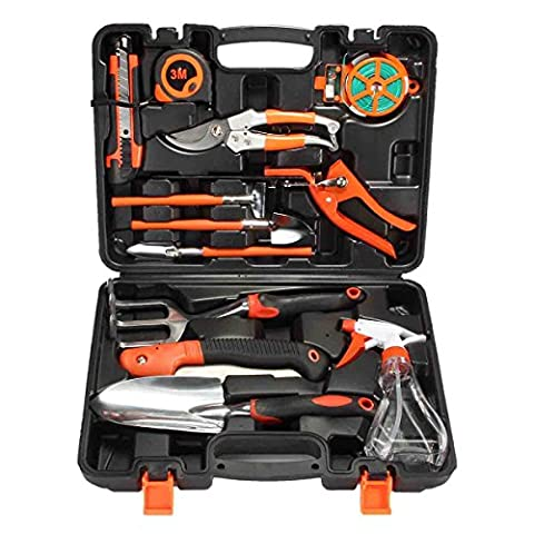 Garden Gardening Tool Set Pathonor 12Pcs Garden Hand Tools Plant Care Garden Tool Set All-in-One Kit Home Precision Tool with 15 inch Carrying Case Include Shovel, Saw, Measure