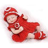Nicery Renacer Bebé la Muñeca Simulación Silicona Vinilo duro 10 pulgadas 26cm Natural Niña Niño Impermeable Bañarse Juguete Red Dress Girl Eyes Close