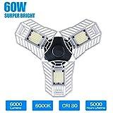 LED-Garagenleuchten, 60W verstellbare Trilights-Garagen-Deckenleuchte, hohe Bucht verformbar LED-Maislampen mit 6000LM 6000K für Kellerkeller (CFL HID HPS Halogen Metalldampflampen 300W-400W)
